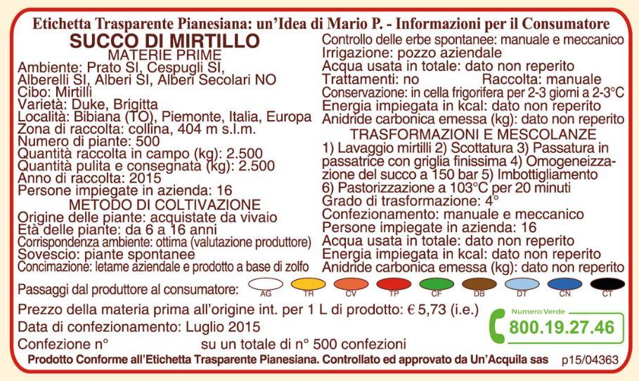Etichetta Trasperente Pianesiana